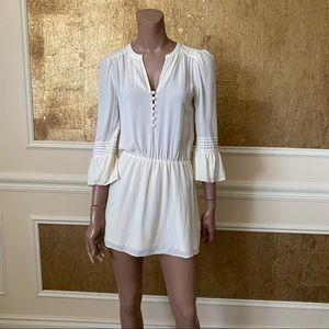Parker ivory boho blouson mini silk dress XS